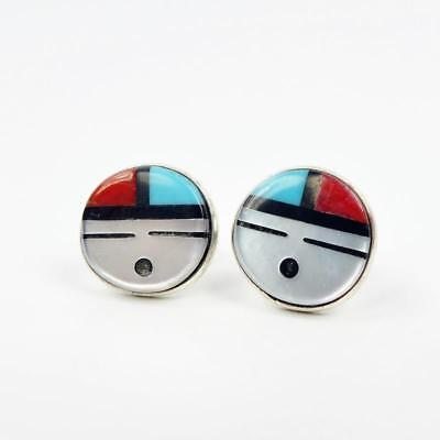 Native American Zuni Sterling Silver Turquoise Inlay 10mm Sunface Post Earrings