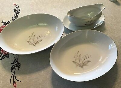 Kaysons Fine China Golden Rhapsody 1961 Gravy Boat/Plate 2 Vegetable Bowls