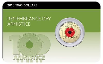 2018 $2 Remembrance Day Armistice Centenary Coin Pack on Card Red Poppy