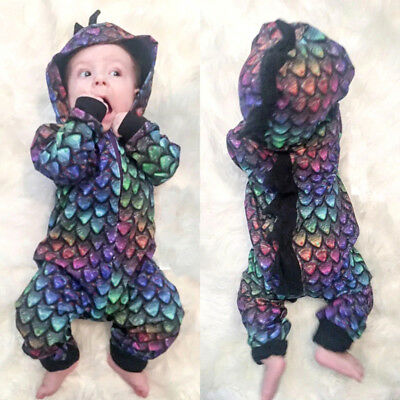 Fashion Newborn Baby Boys Girls Dinosaur Hooded Romper Playsuit Outfits Clothes