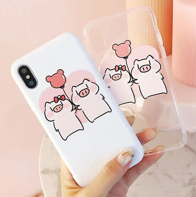 Couple Lovely Pig Full Cover Soft Silicone Phone Case For iPhone 6 6s 7 8 Plus X