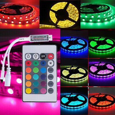 RGB LED Strip Light IP65 Waterproof 5050 5M 300 SMD 12V + 24 key IR Controller