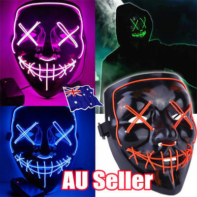 3 Modes Scary Mask Cosplay LED Costume Mask EL Wire Light Up The Purge Movie ON