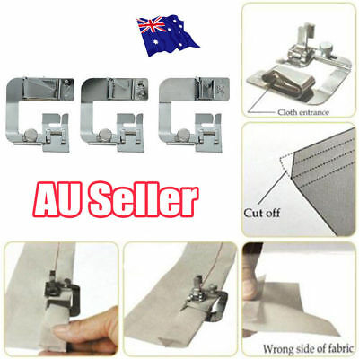 3pcs Rolled Hem Home Sewing Machine Hemming Cloth Strip Presser Feet ON