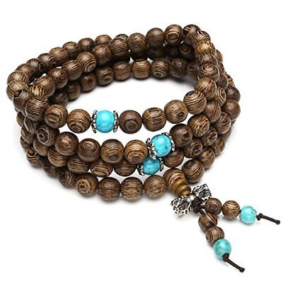 Jap Mala Necklace Wood/turquoise Prayer Beads Buddhist Vajra Bracelet Counting