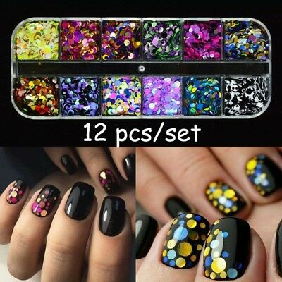 12 Pcs Nail Sequins Glitter Ultrathin Confetti Flakes Manicure 3D Art Decoration