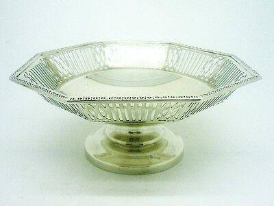 Silver Dish, Pierced Rim Decoration, STERLING, Hallmarked 1965, Barker Brothers
