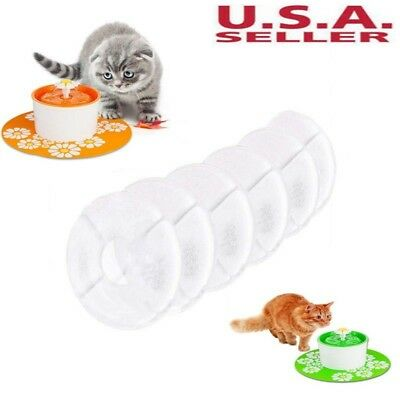 6PCS Flower Carbon Filters Replacement For Pet Cat Dog Water Drinking Fountain