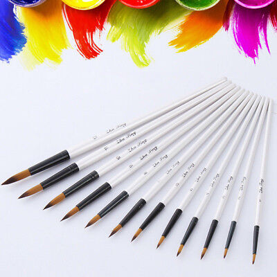 12pcs Artist Watercolor Painting Brushes Brush Oil Acrylic Flat & Tip Paint Set
