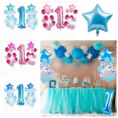 25pcs Happy First Birthday Balloons Set 1 Year Old Baby Boy Girl Party Decor New