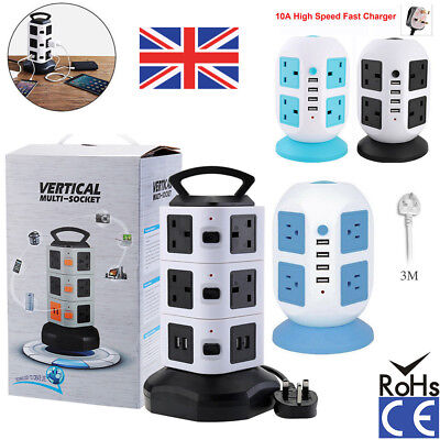 Surge Protected Extension Lead Uk Plug Tower Adaptor Cable Multi Socket Light Yy