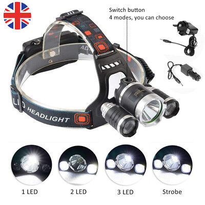 12000LM 3 x XML CREE T6 LED Rechargeable Head Torch Headlamp HeadLight Lamp UK