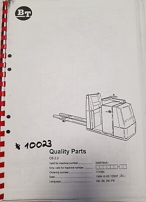 Spare Parts Book BT Electric Order Picker OS 2.0 since Ser No. 346578AA