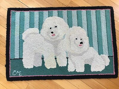 Bichon Frise Hooked Area Rug By Claire Murray 120 00 Picclick