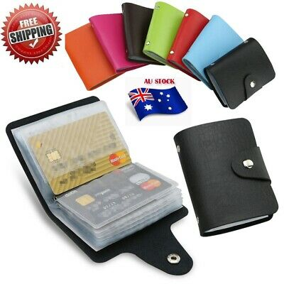 Men's Slim ID Credit Card Holder Pocket Case Purse Wallet For Cards PU Leather