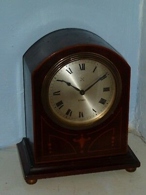 HAC dome topped mantel clock in inlaid mahogany case - for spares or restoration
