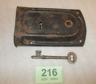 Antique Brass And Steel Rim Door Lock With Key 216