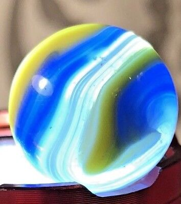 "Vintage AKRO Agate POPEYE 3 Color Marble Blue Yellow White  63"" Near Mint! #47"