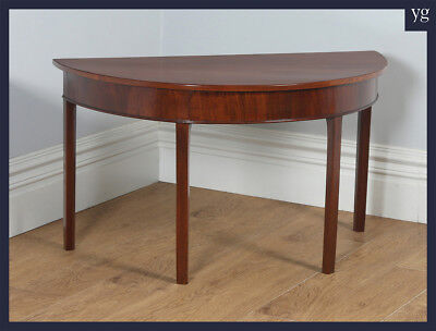 Antique English Georgian Mahogany Demi Lune Console Side Hall Table (Circa 1790)