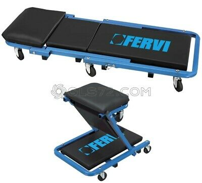 2 In 1 Car Van Mechanic Garage Workshop Rolling Creeper Stool Seat Fervi 0645/ss