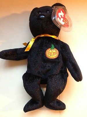 HAUNT Halloween Black Bear TY Beanie Baby NEW with Tag Plush Toy 2001