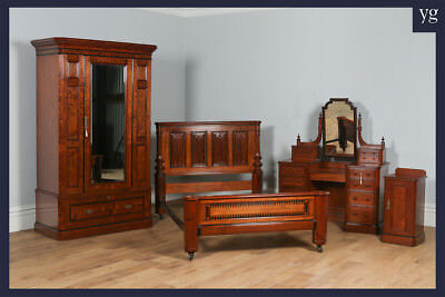Antique Victorian Gothic Pitch Pine & Ebony Bedroom Suite Bed Wardrobe Bedside