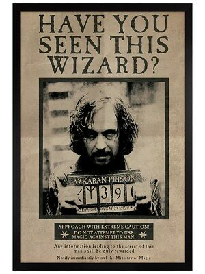 Harry Potter in schwarzes Holz eingerahmtes Wanted Sirius Black Poster 61x91,5cm