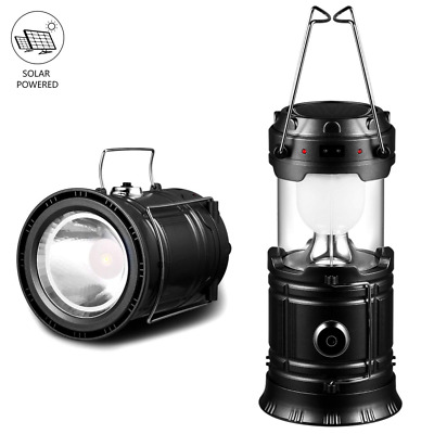 Solar Lantern Camping Flashlights Rechargeable Battery Powered Collapsible NEW