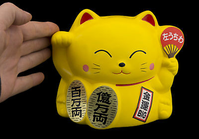 Grand Brule encens chat japonais 16cm jaune Made in Japan Maneki Neko 40650