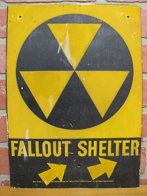 Orig Old FALLOUT SHELTER Sign Cold War Era DoD Galvanized Steel Right Arrows