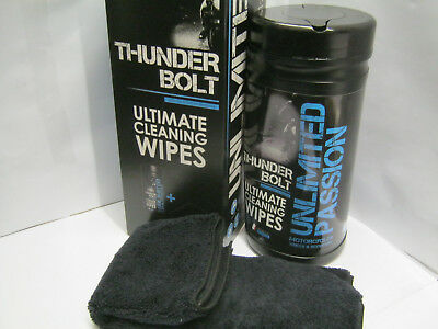 Unlimited Passion THUNDER BOLT Ultimate Cleaning Wipes (80) + Microfibre Cloth