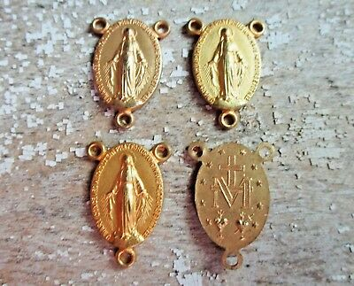 4pc lot Vtg French Rosary Center Brass gold 3 way connector parts religious Mary
