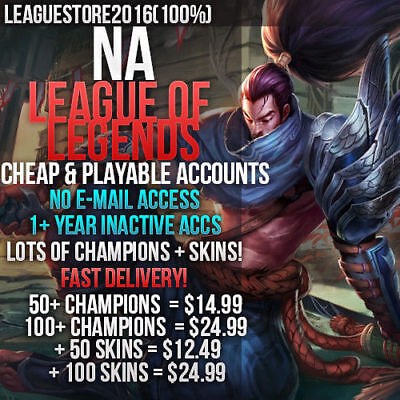 League of Legends Account LoL NA Unranked Smurf Lvl 30 All Champs Skins