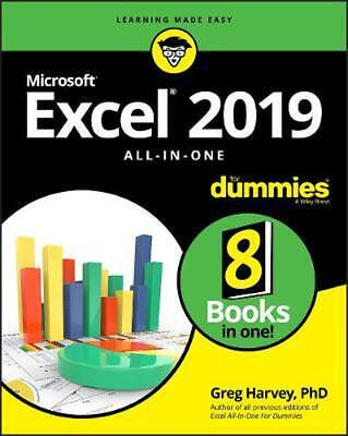 Excel 2019 All-in-one for Dummies by Greg Harvey Paperback Book Free Shipping!