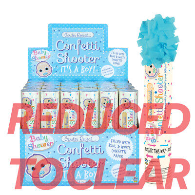 20cm BLUE Its A BOY Confetti Shooter Compressed Air Cannon Party Poppers