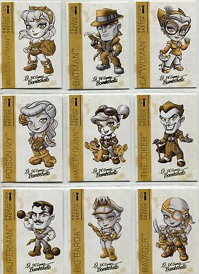 DC Comics Bombshells 2 Complete Gold Deco Lil Sketch Chase Card Set A1-9