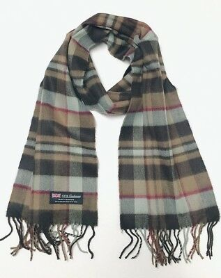 New 100%CASHMERE SCARF Soft Warm Wool Wrap SCOTLAND Plaid Check Browns Gray Wine