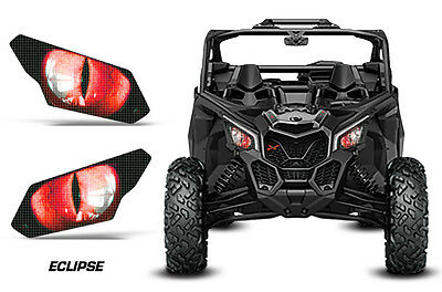 UTV Headlight Eye Graphics Kit Decal Cover For Can Am Maverick X3 ECLIPSE RED