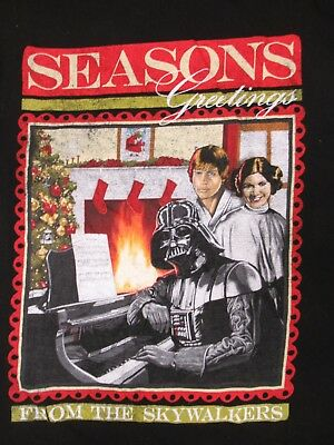 Star Wars - Seasons Greetings From The Skywalkers - Small Black T-Shirt -V180