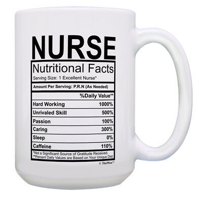 70e63b3b Funny Nurse Gifts for Women Nurse Nutritional Facts 15oz Coffee Mug Tea Cup