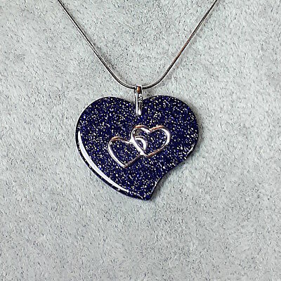 Genuine 925 Sterling Silver Chain Necklace Heart Pendant Gift Her 16 inch UK