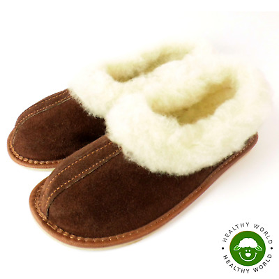 Women's Shoes, REAL LEATHER + SHEEP WOOL Slippers, Handmade, Hard Sole, Brown