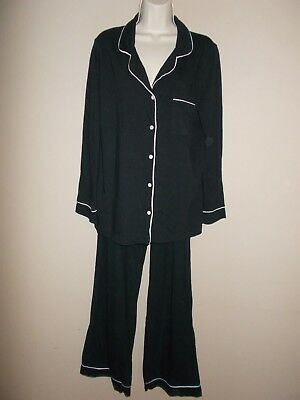 Gilligan & O'Malley Womens Size L Black and White Trim 2-Pc Pajamas Long Sleeves