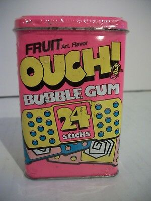 Vintage Amurol Ouch! Bubble Gum Tin with hinged lid 24 Sticks Sealed NOS