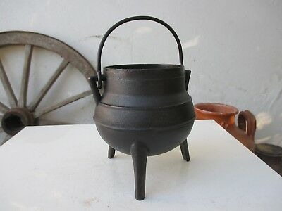 Vintage Cast Iron Cooking Gypsy Strong Pot Cauldron Ready To Cook 1 Litre