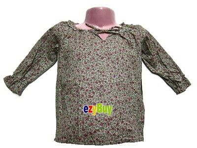 Little Floral Long Sleeve Cotton Green Girls Blouse