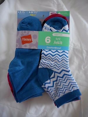 Girls Hanes Ankle Socks 6 Pair Size Large 4-10 NEW  Blues