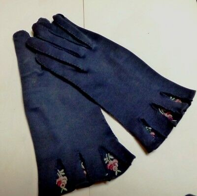 Vintage 1950's Black Dress Gloves HAND STITCHED & EMBROIDERED Floral Cuff Insert
