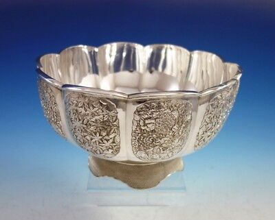 Japanese .950 Silver Centerpiece Bowl with Flowers Leaves Butterflies (#2991)