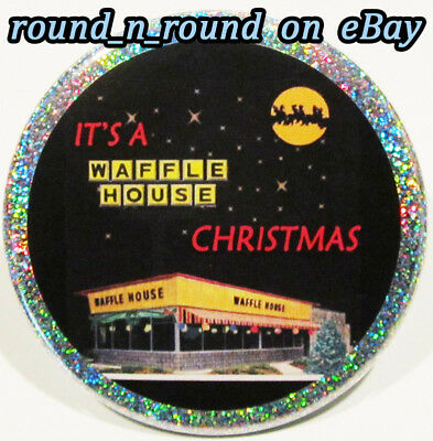 Waffle House PIN - Rare Christmas HOLOGRAM BUTTON Fast Food Restaurant Chain